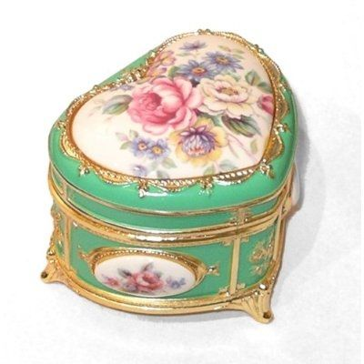 Heart Shaped Victorian Floral Musical Box