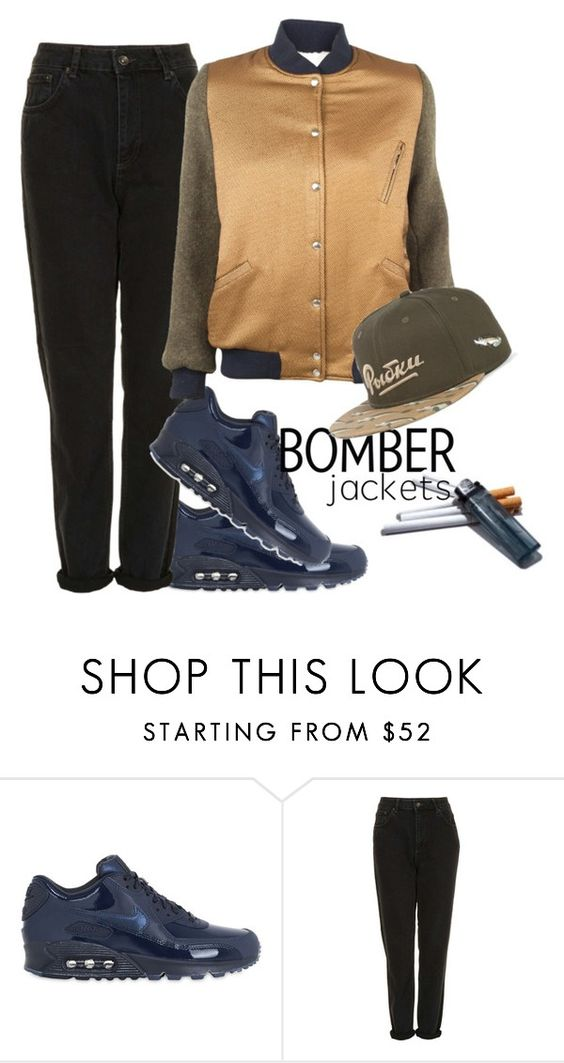 """""""Без названия #328"""" by haomind ❤ liked on Polyvore featuring NIKE, Topshop, Roseanna and bomberjackets"""