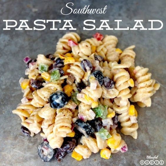 Southwest Pasta Salad  My Dressing adaptation: ranch dressing to coat, 2 Tbsp mayo, 2 Tbsp sour cream, 1 Tbsp taco seasoning (*cilantro would be good to add too)