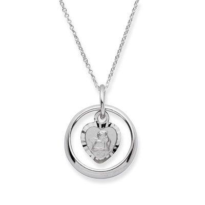 wunderschöner Taufring mit einem Engelsanhänger in Herzform in Silber