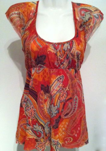 Sweet Pea by Stacy Franti Anthropologie Bohemian Paisley Nylon Knit Top Sz S | eBay