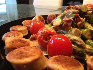 Grill-Action: Lauwarmer Spargelsalat mit Bratwürstle