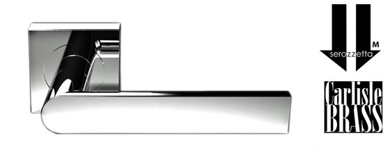 SEROZZETTA EDGE ON SQUARE ROSE, POLISHED CHROME DOOR HANDLES - SZM210SQCP (sold in pairs) New