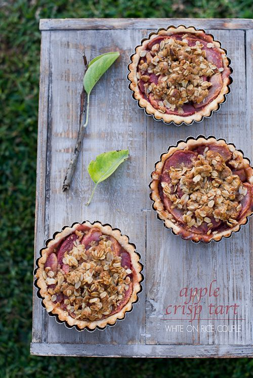 Butter Rum Apple Crisp Tarts from Pink Pearl Apples white on rice