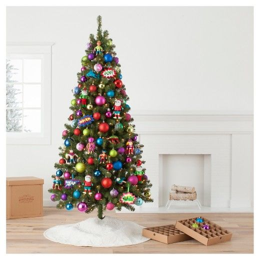 Decorate Your Tree With A Big Dose Of Pop Culture Style That Features Fun Bright Co Red Christmas Ornaments Christmas Ornament Sets Christmas Tree Decorations