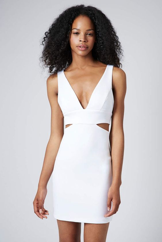 TOPSHOP Summer Party Holiday Cut-Out Bralet Bodycon Dress Sz 4 to 16 #TopShop #StretchBodycon #Outdoor