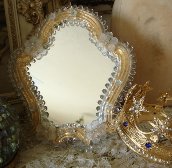 Antique Murano Venetian Table Mirror Glass Floretes. | Classy Glassy |  Pinterest | Table Mirror