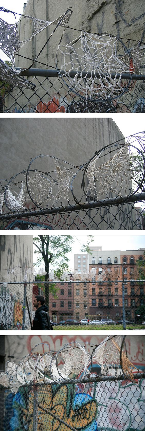 Invasive crochet: Lace doilies on razor wire - Imgur: