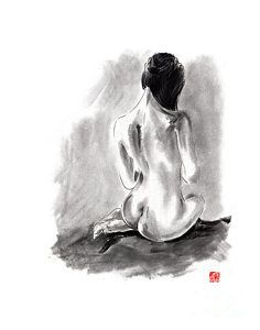 Painting - Woman Geisha Erotic Act Beautiful Girl  Japanese Ink Painti by Mariusz Szmerdt