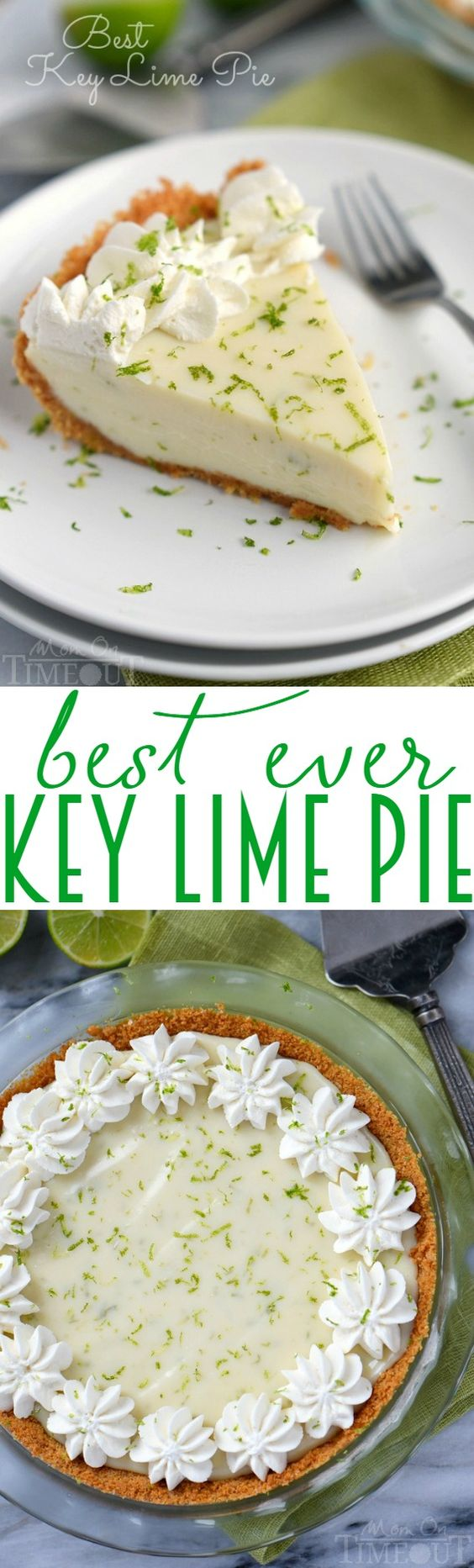 The Best Key Lime Pie recipe EVER! And so darn easy too! You won't be able to stop at just one slice! | MomOnTimeout.com | #recipe
