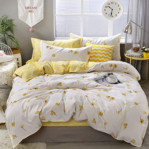 Yellow Flower Bedding Luxury Floral Duvet Cover Set Lucky Clover And Yellow Plaid Reversible Design Flowers C In 2020 Bed Linen Sets Bed Comforter Sets Cool Comforters