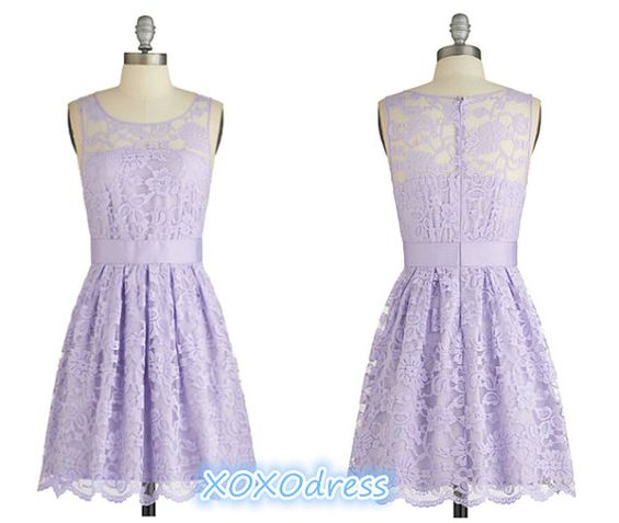 Short Scoop Light Purple Lace Bridesmaid Dress by XOXOdress ...