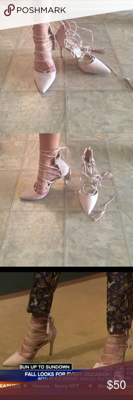 Nude JustFab Heels Nude suede lace up JustFab high heels. Size 6.5. Zips up in the back. Only worn once. Perfect condition. No Trades!! JustFab Shoes Heels