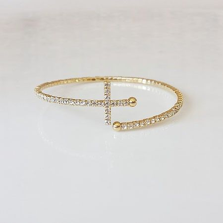 Thin Cross Crystal Bangle stylesome1.com