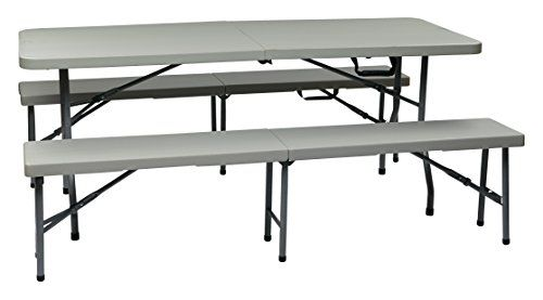 Office Star Resin 3 Piece Folding Bench And Table Set Best Offer Ineedthebestoffer Com Table And Bench Set Folding Bench Folding Picnic Table