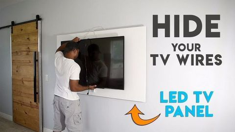 How To Hide Tv Cables With A Diy Led Tv Panel Hide Tv Cables Tv Panel Hidden Tv