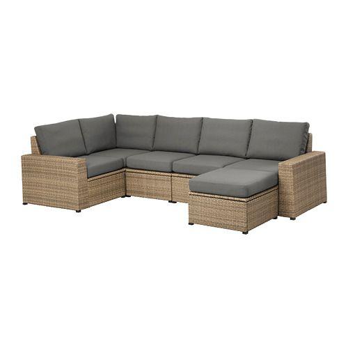 Solleron Modular Corner Sofa 4 Seat Outdoor With Footstool Brown Brown Froson Duvholmen Dark Gray Modular Corner Sofa Ikea Loveseat Ikea Outdoor