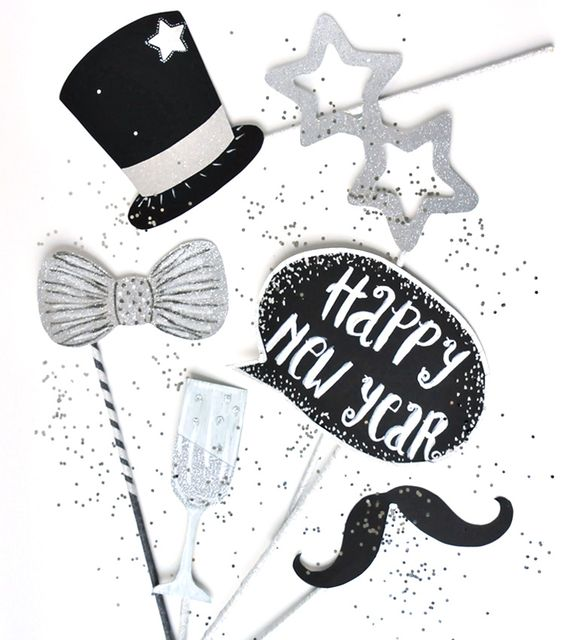 miss red fox - Silvester Party - Happy New Year - Photo Booth - Glitter, Silver, Black - Glitzer, Silber, Schwarz - DIY Accessories