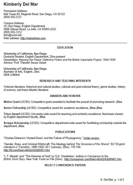 English Cv Sample | Writing Your Curriculum Vitae | Resume