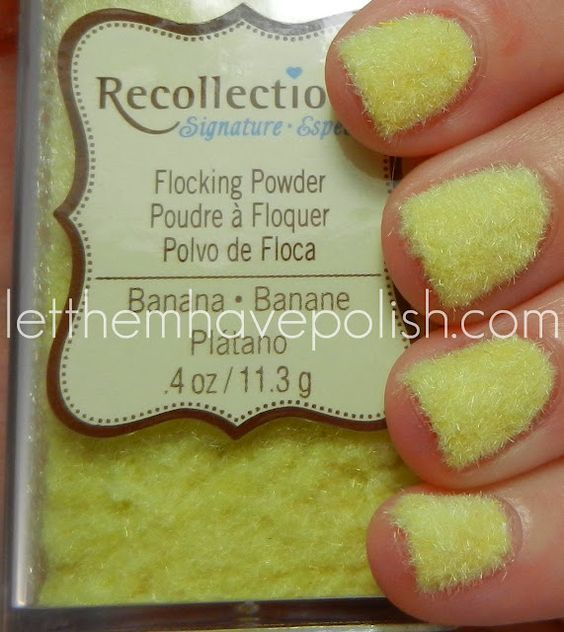 Flocking powder from craft store to create fuzzy mani. Seems like it could be a total unpractical mess BUT still looks really cute....maybe for a special occasion 1 day/evening kinda thing. HAHA!