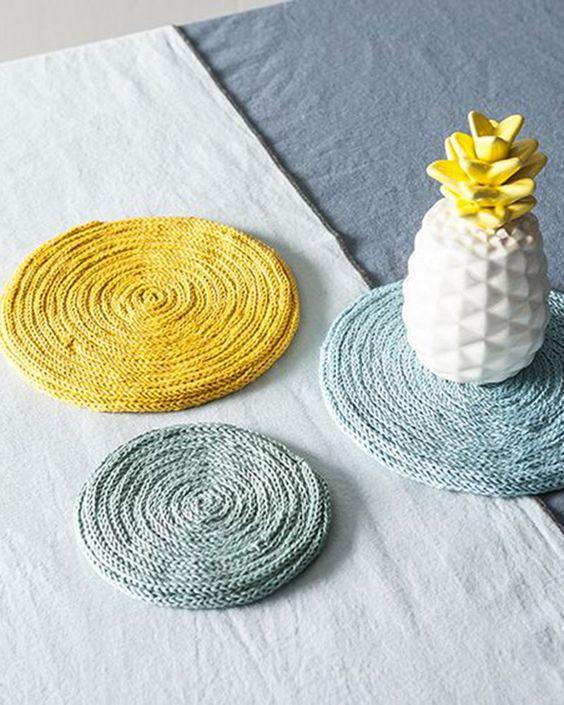 Dessous de plat en tricotin - que faire avec un tricotin article marie claire