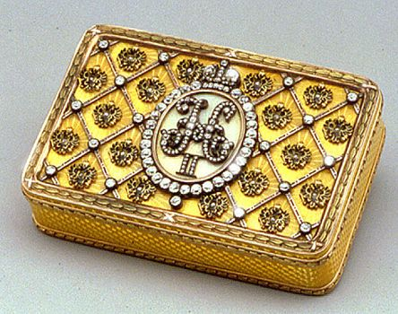 A diamond-set enameled two-color gold Imperial presentation snuff-box At the center of the box, is the diamond-set crowned monogram of Tsar Nicholas II  - signed Fabergé,  1897,