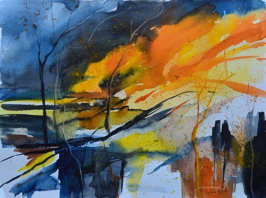 Abstrakte Landschaften In Aquarell Verkauft Painting