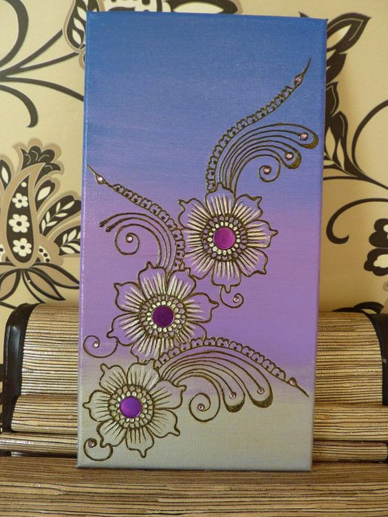 Purple Floral Handpainted Henna Canvas by AHandfulofHenna on Etsy, $30.00