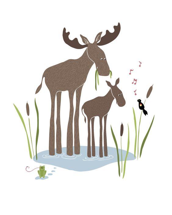 Moose Children's Print By Barnswallowpress On Etsy