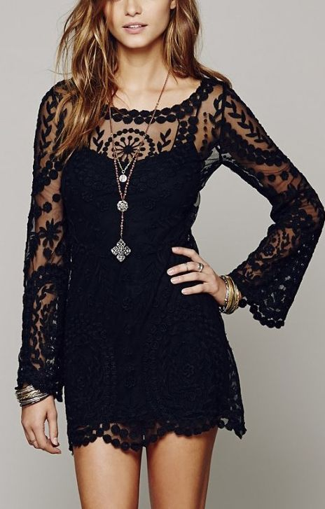 Black See-through O-neck Long Sleeves Lace Dress | FOREVER ...