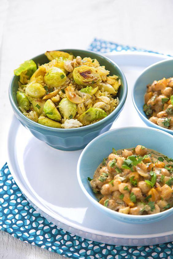 Curry thaï de pois chiches & riz aux choux de Bruxelles poêlés :  http://www.100-vegetal.com/2014/03/curry-thai-de-pois-chiches-riz-aux.html