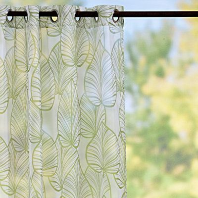 sheer drapes with leaf patterns length 94 | Home Outdoor Living ...