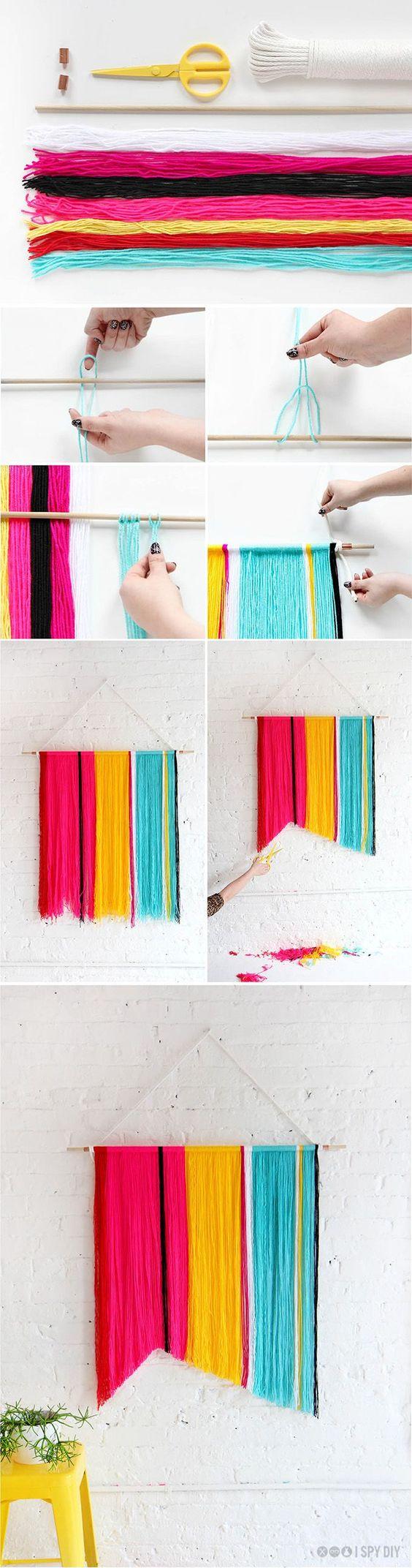 I spy yarns and easy decorations on pinterest for Diy yarn wall art