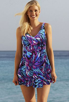 Plus Size Swimdress - Beach Belle Dahlia V-Neck Swimdress