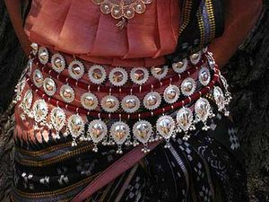 Odissi dancer's waist belt with silver filigree work.