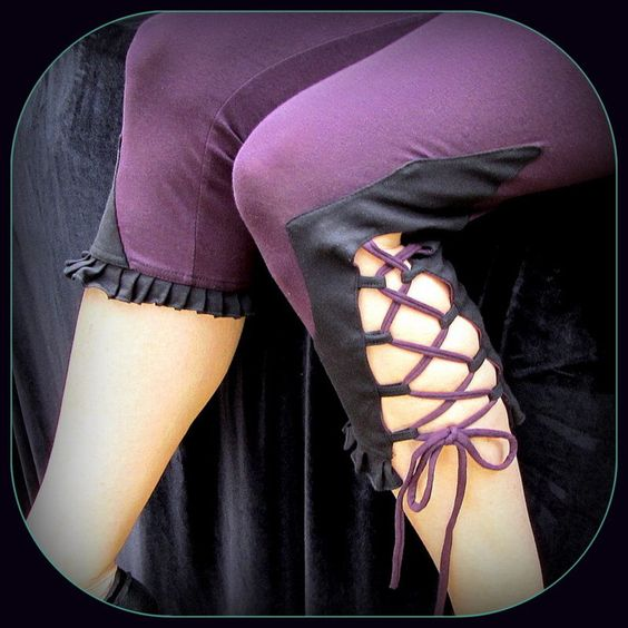 Festival Leggings w/ Corset Lacing Bloomer Style ~ Organic Cotton Plum Purple, Black Detail, Laces and Ruffle ~ Hooping, Yoga, Dance, Pixie by TalismanaDesigns on Etsy https://www.etsy.com/listing/203381664/festival-leggings-w-corset-lacing