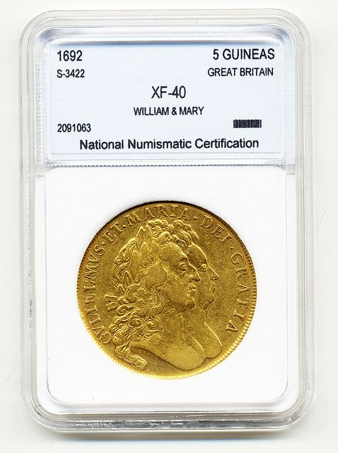 1stsovereign.co.uk 1692 FIVE GUINEA WILLIAM AND MARY GOLD COIN, Gold Sovereigns For Sale, Half Sovereigns For Sale, Gold Coins For Sale in London, Quality Gold Coins, 1stsovereign.co.uk