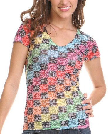 Loving this Gray & Rainbow Burnout Checkerboard Tee - Women on #zulily! #zulilyfinds