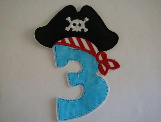 Pirate birthday iron on applique by EmbellishmentJunkies on Etsy, $6.00