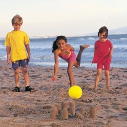 Beach Bowling. Indoor games become outdoor games in the summer!