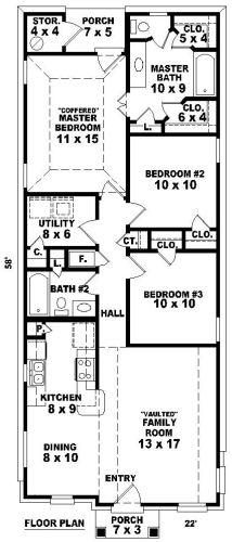 Doral house plan shotgun house plan house plans for 2 bedroom shotgun house plans