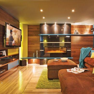 Un sous sol aux coloris vifs et bois chaleureux sous sol - Renovation sous sol idee ...