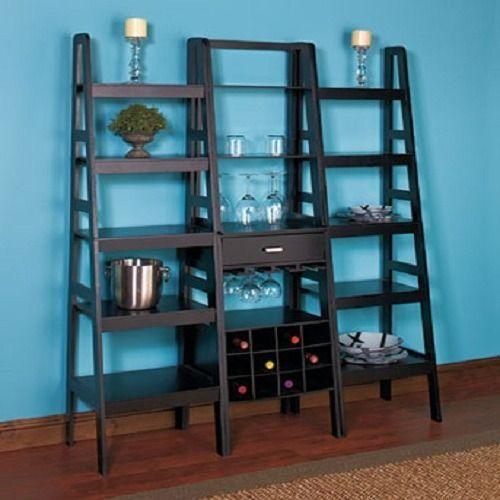 5 Tier Wooden Ladder Shelf Storage Wine Rack Black Shelves Wall Unit Furniture Wooden Ladder