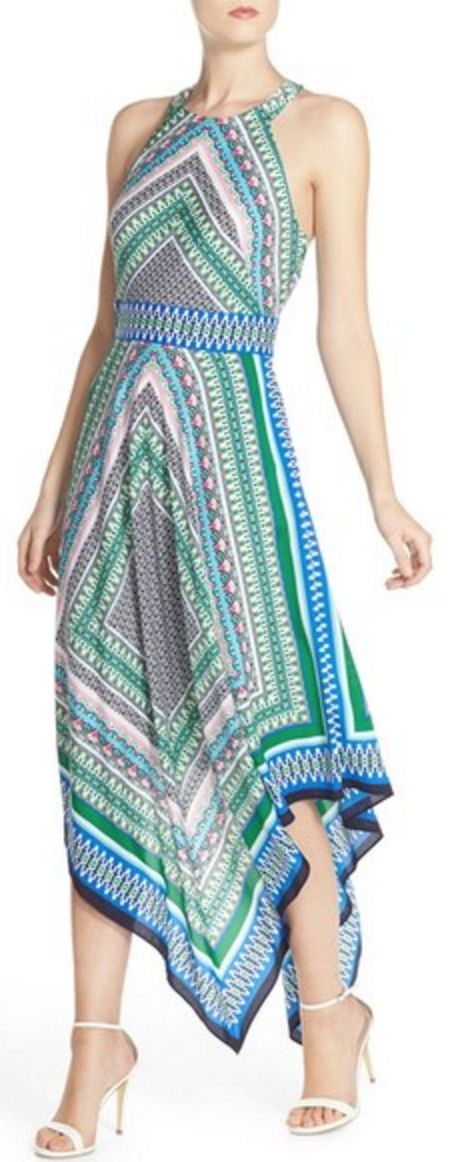 Green and Blue Print Woven Maxi with Halter Neckline and Handkerchief Hem