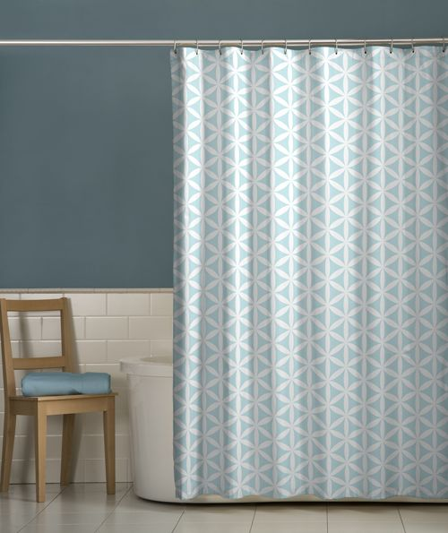 Maytex Shower Curtain Set - I love this color blue with that wall color!