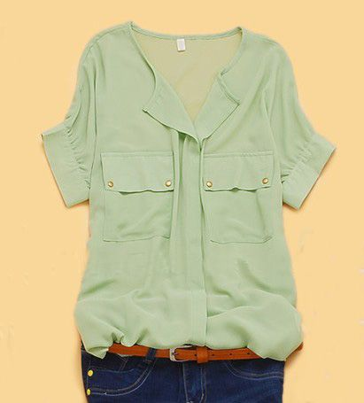 Green Chiffon Pocket tee