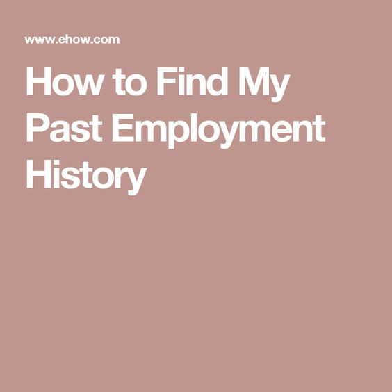 How To Find My Past Employment History