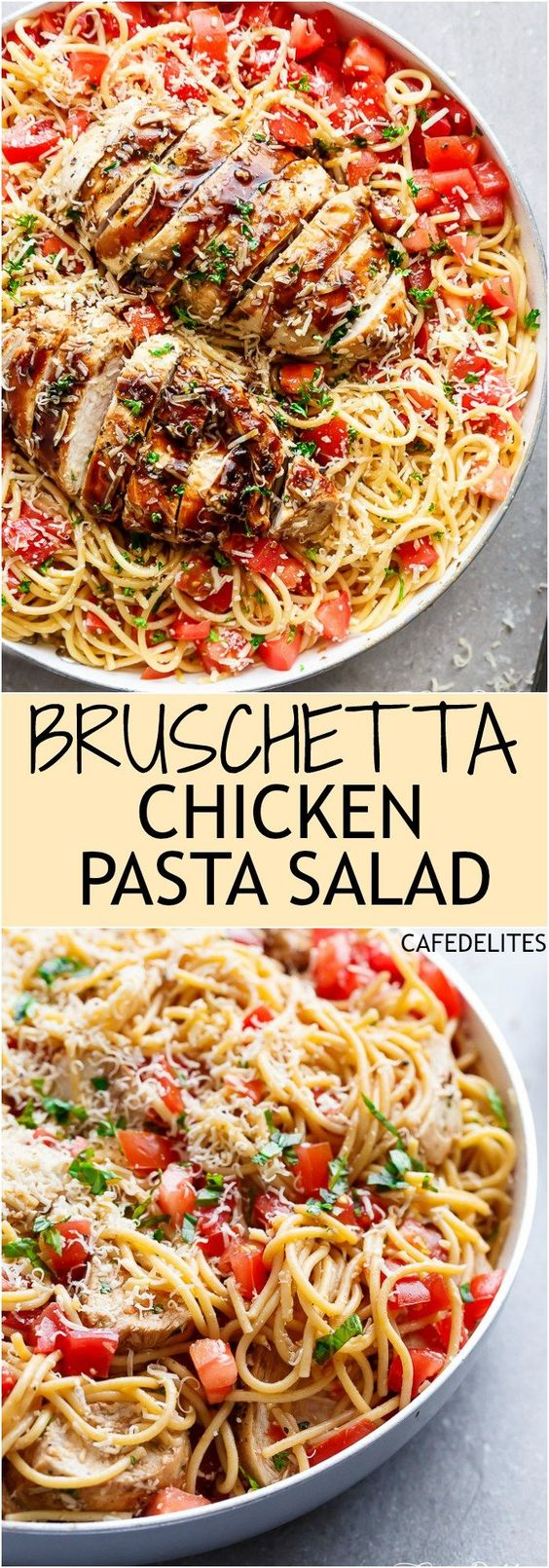 Bruschetta Chicken Pasta Salad Recipe via Cafe Delites - This is a must make for any occasion in minutes! Filled with Italian seasoned grilled chicken, garlic and parmesan cheese! Easy Pasta Salad Recipes - The BEST Yummy Barbecue Side Dishes, Potluck Favorites and Summer Dinner Party Crowd Pleasers #pastasaladrecipes #pastasalads #pastasalad #easypastasalad #potluckrecipes #potluck #partyfood #4thofJuly #picnicfood #sidedishrecipes #easysidedishes #cookoutfood #barbecuefood #blockparty