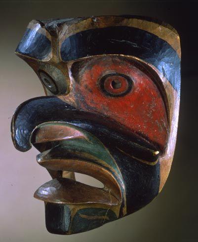 "Bakwas ""Cockle-Hunter"" Mask Bella Bella (Heiltsuk) Northwest Vancouver Island c. 1870-1880 Alder?, paint  Fenimore Art Museum"