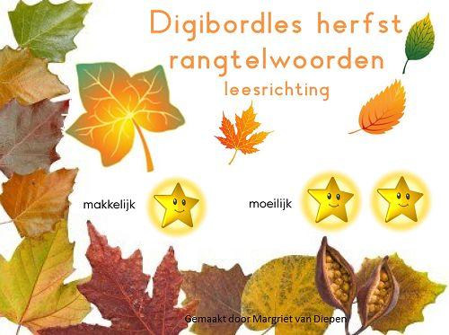 Rangtelwoorden Thema Herfst